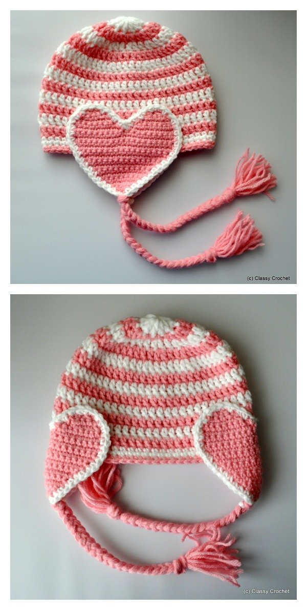 Free Crochet Heart Hat Pattern : Adorable Crochet Heart Hat Free Patterns