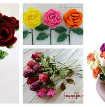 Valentine's Day Crochet Flowers Free Patterns