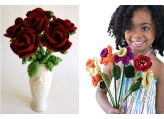 Crochet Valentine's Day Flowers Free Patterns