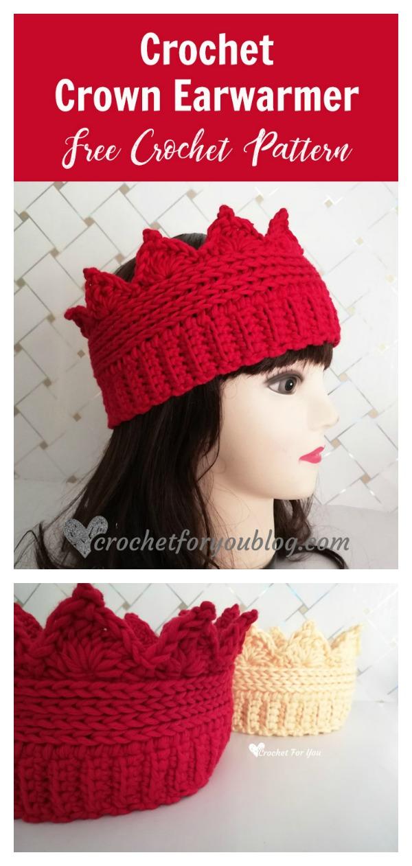 Crown Ear Warmer Free Crochet Pattern