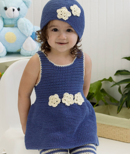 Darling One-Piece Romper & Hat Free Crochet Pattern