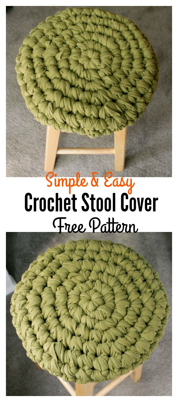 Easy and Simply Crochet Stool Cover with Old T-shirt Free Pattern
