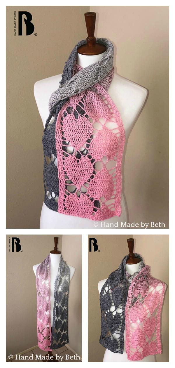 Falling Hearts Lace Scarf Free Crochet Pattern