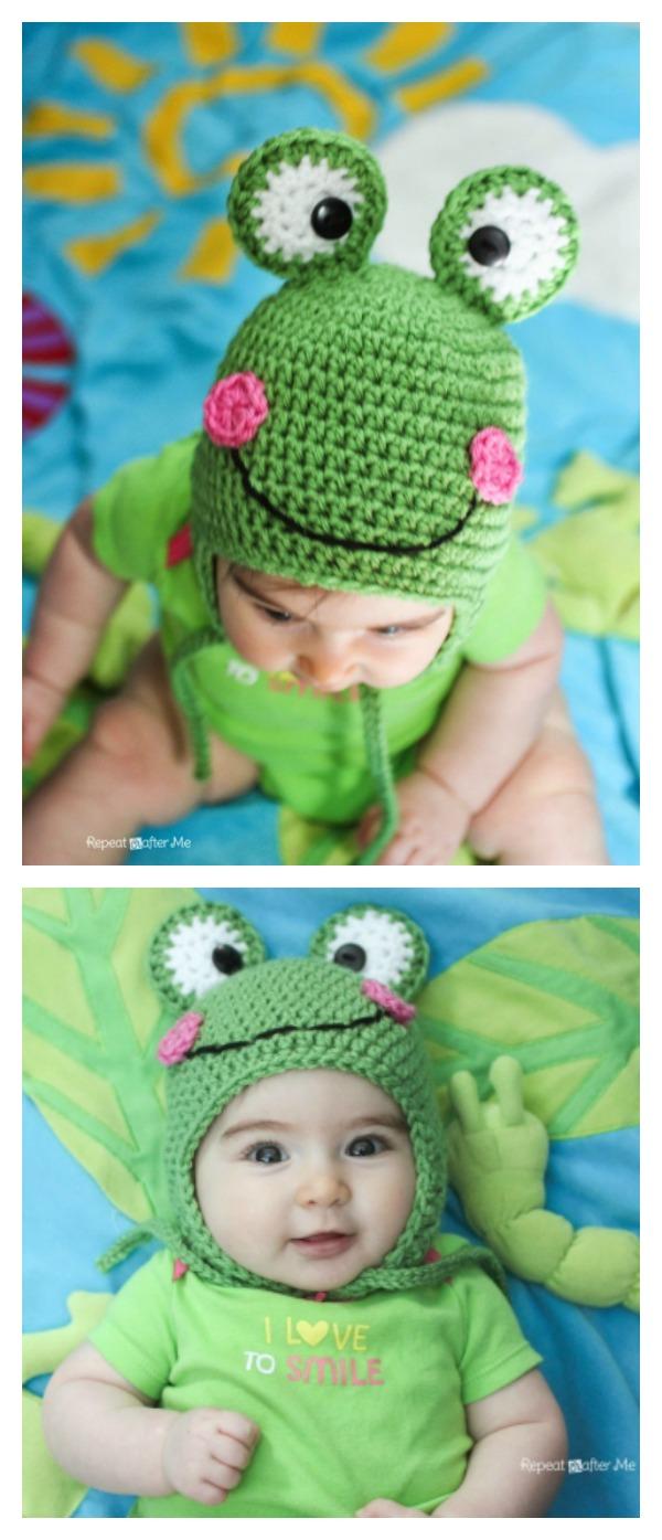 Free Crochet Pattern Newborn Frog Hat : Frog Hat Free Knitting Crochet Patterns