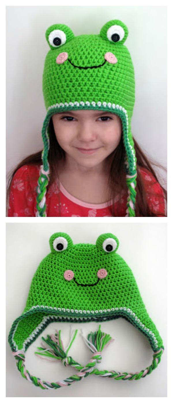 Free Knit Pattern Baby Frog Hat : Frog Hat Free Knitting Crochet Patterns