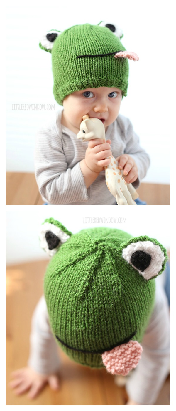 Funny Frog Hat Free Knitting Pattern