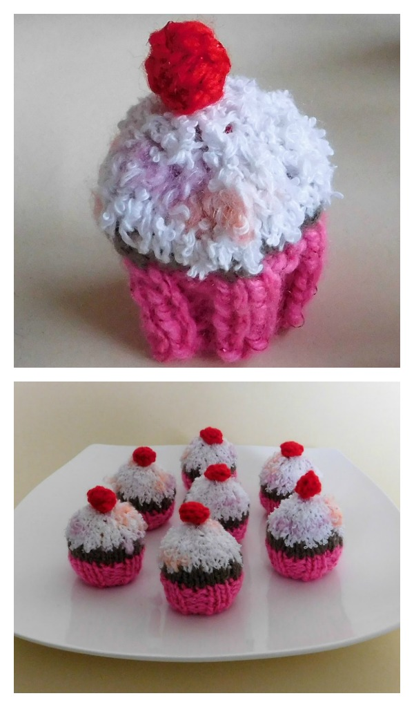 Knitted Chocolate Cupcakes Free Pattern