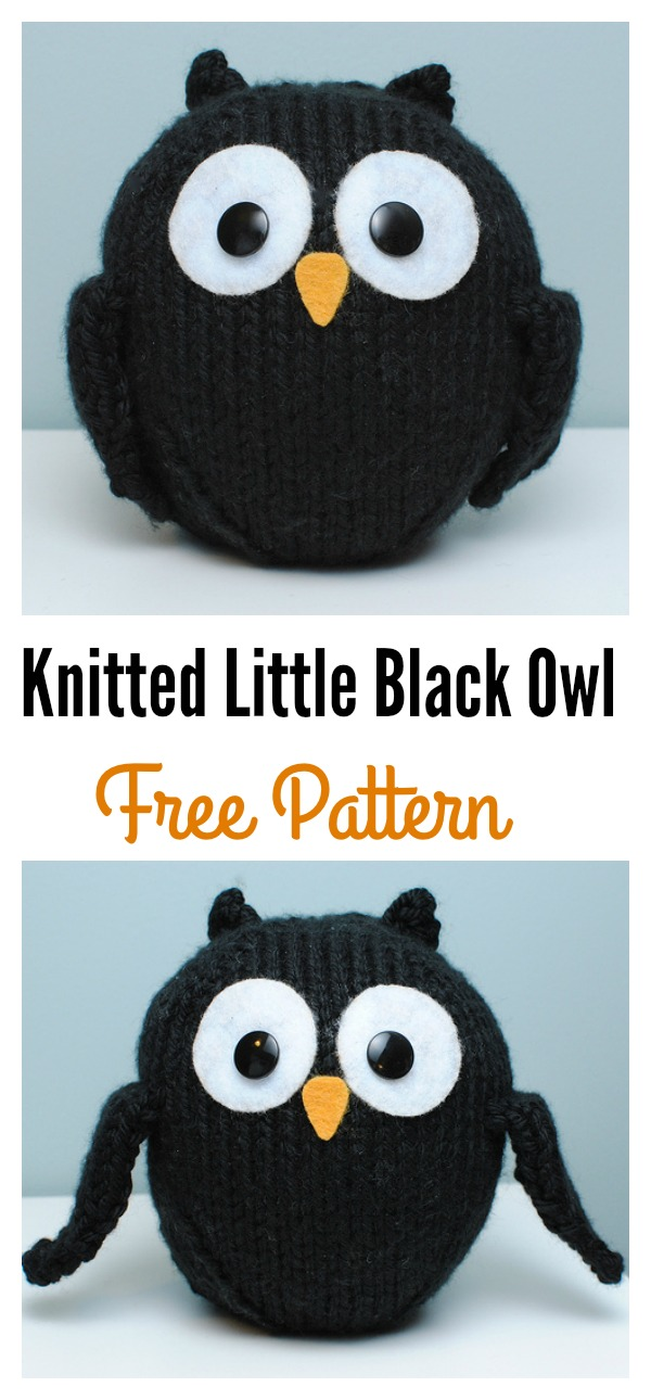 Knitted Little Black Owl Free Pattern