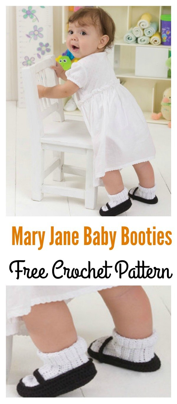 Mary Jane Baby Booties Free Crochet Pattern