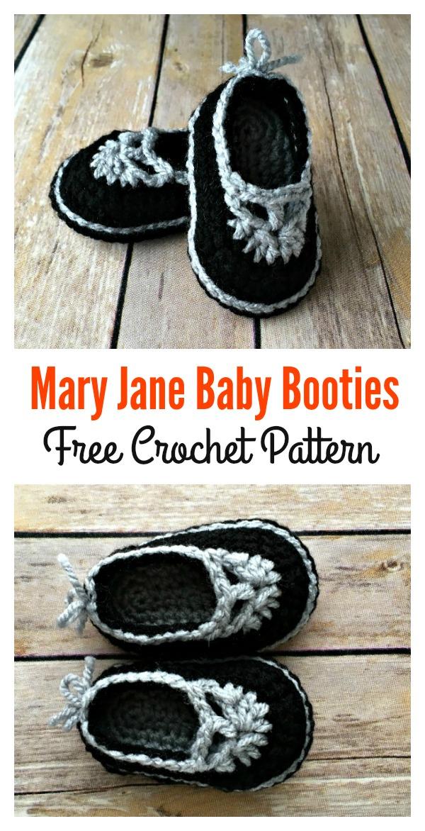 Mary Jane Baby Booties Free Crochet Pattern