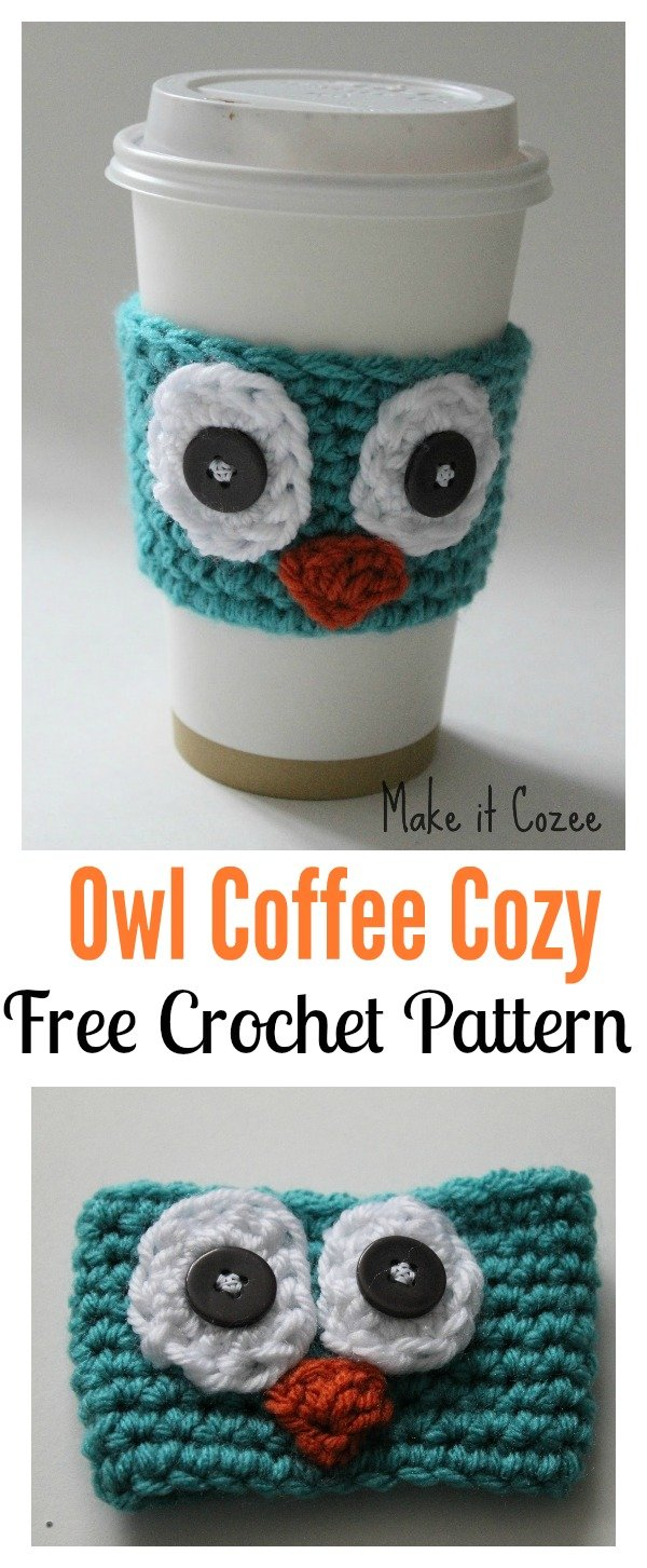 Owl Coffee Cozy Free Crochet Pattern