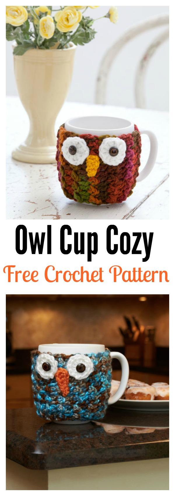 Owl Cup Cozy Free Crochet Pattern