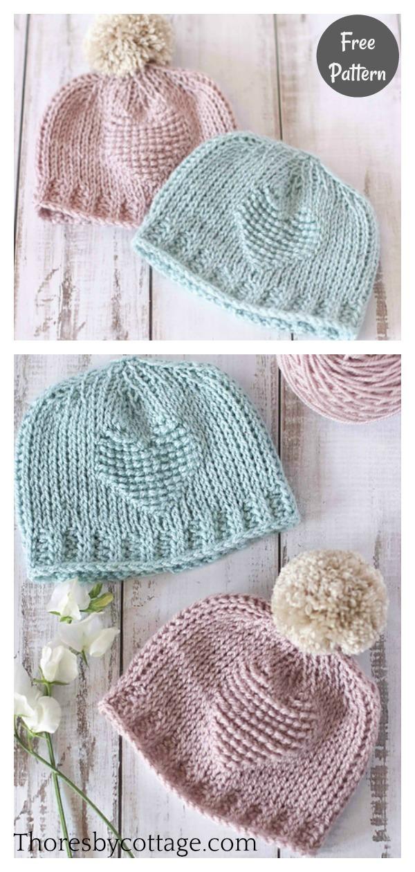 Tunisian Sweetheart Baby Hat Free Crochet Pattern