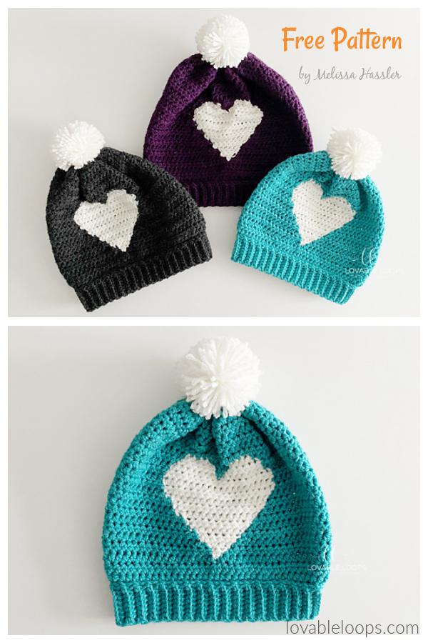 hdc Heart Hat Free Crochet Pattern