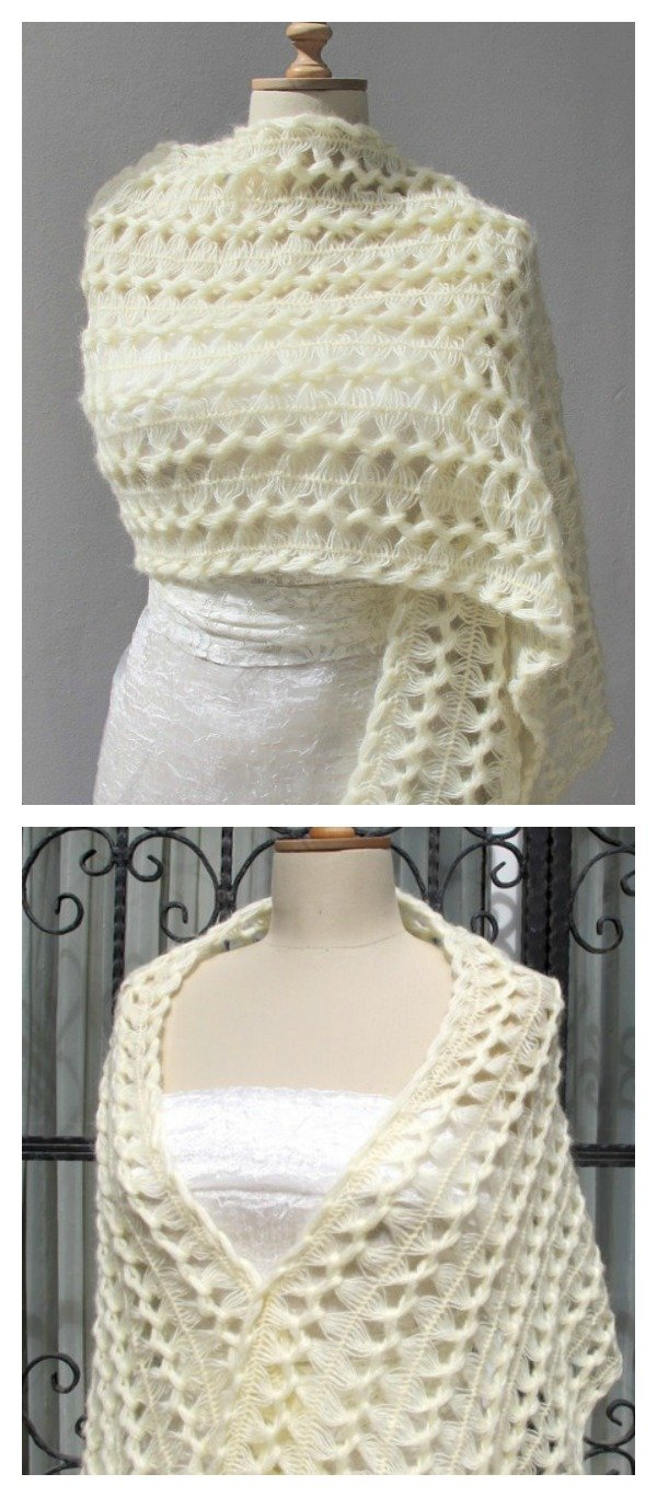Bridal Wrap Hairpin Crochet Shawl