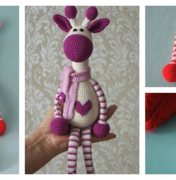Adorable Crochet Hearty Giraffe Amigurumi Free Pattern