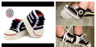 Crochet Baby Converse Sneakers Free Pattern and Video Tutorial