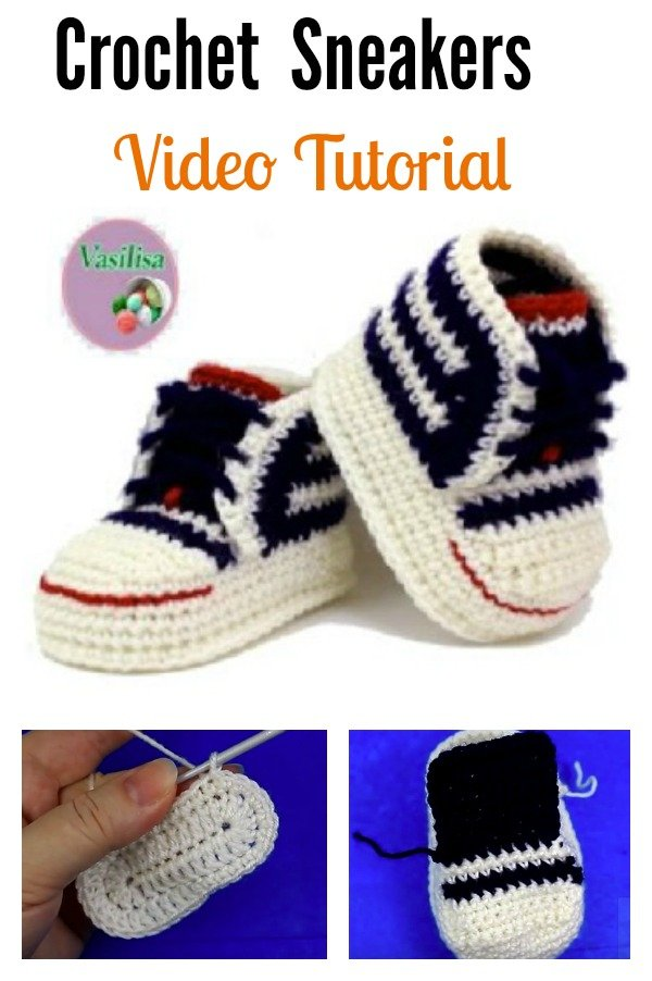 Free Crochet Pattern For Baby Converse : Crochet Baby Converse Sneakers Free Pattern and Video ...