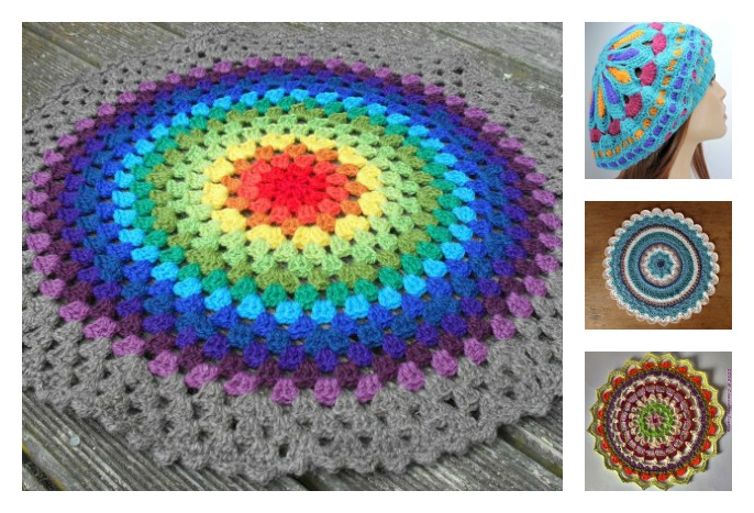 Crochet Stitches Multicolor : Colorful Crochet Mandala FREE Patterns -