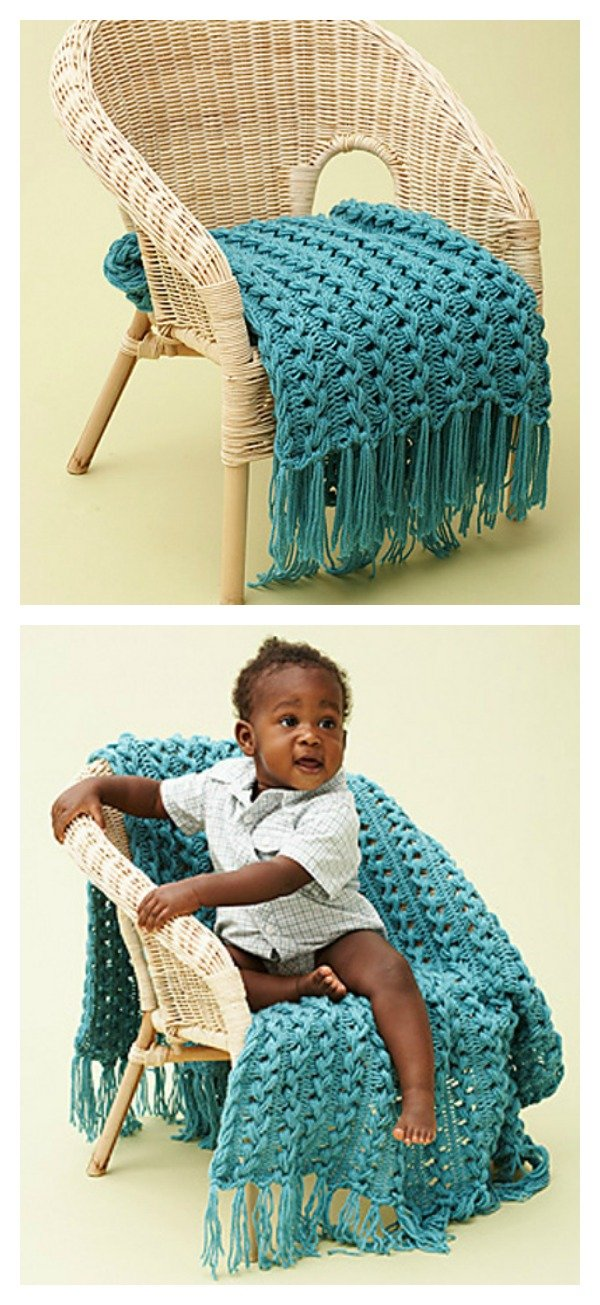 Crochet Hairpin Lace Baby Blanket Free Pattern