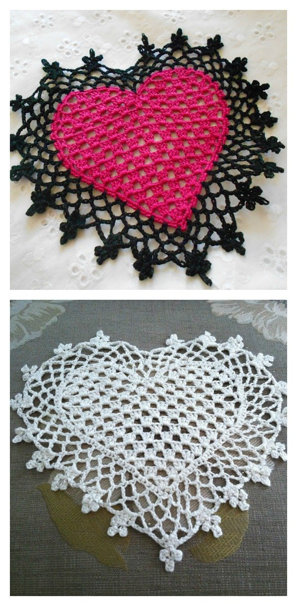 Free Crochet Pattern For Heart Doily : Lovely Crochet Heart Doilies Free Patterns Great for ...