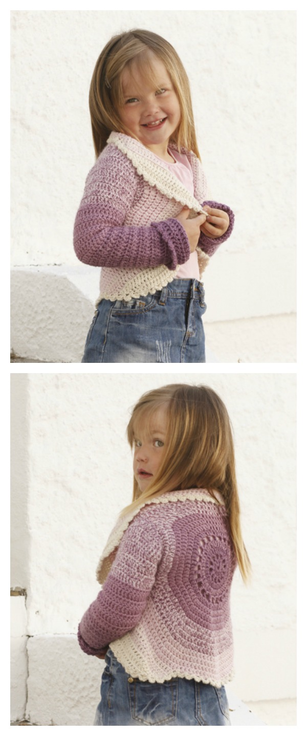 Crochet Princess Petal Sleeved Circle Jacket Free Pattern