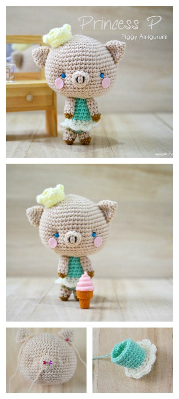 Crochet Princess Piggy Amigurumi Free Pattern