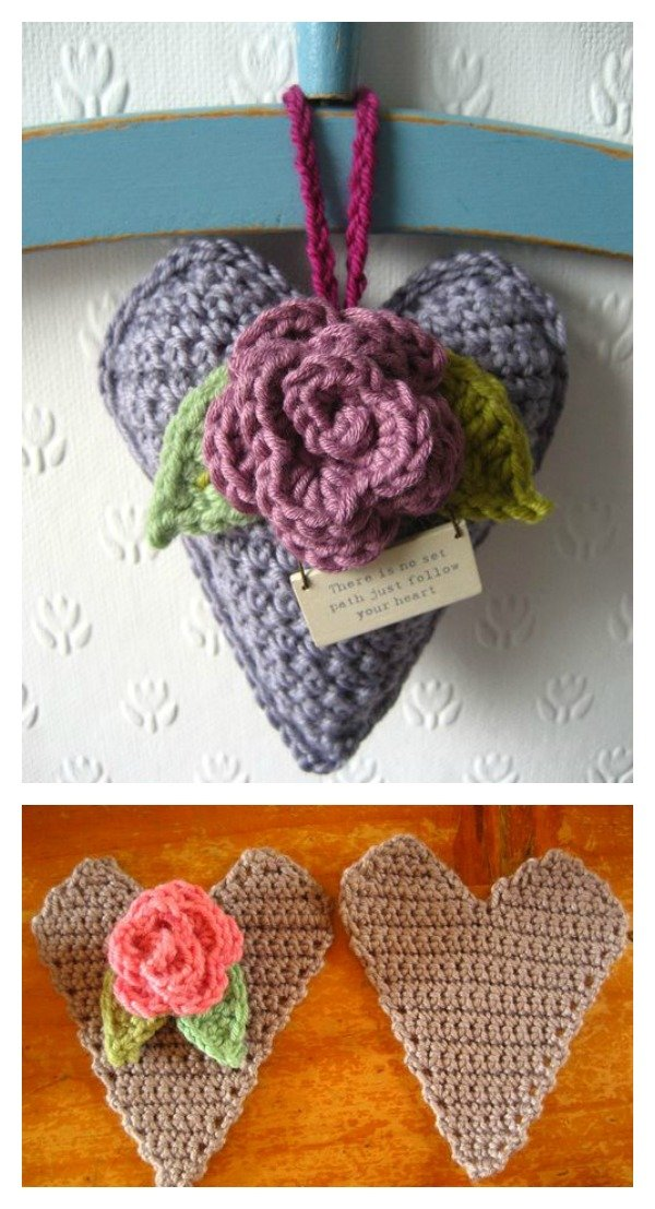 Crochet Rose Heart Free Pattern
