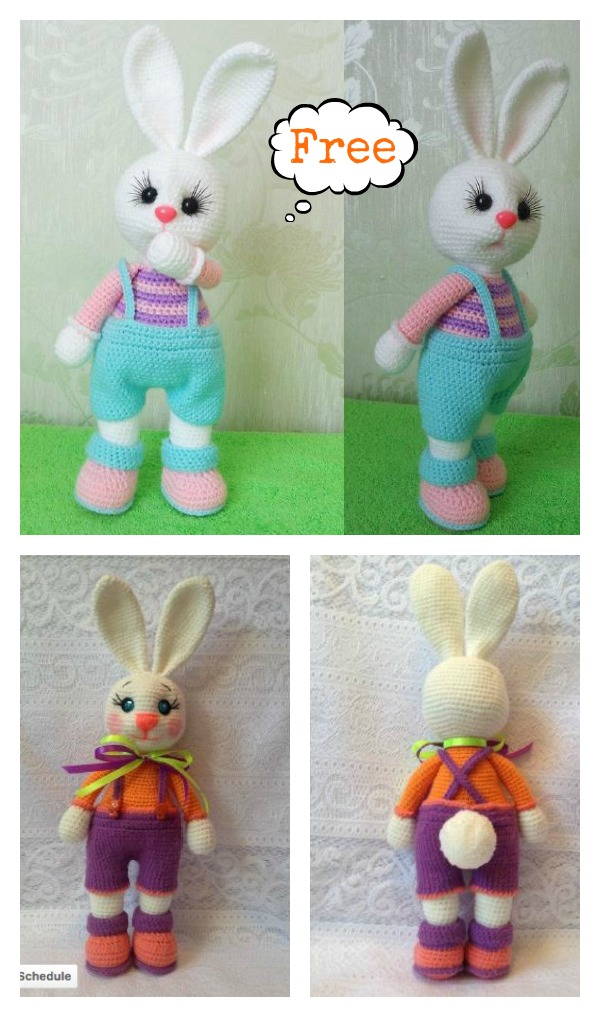 Crochet Amigurumi Bunny Toy Free Patterns Instructions | 1017x600