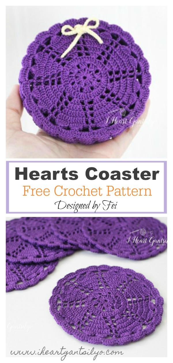 Hearts Doily Coaster Free Crochet Pattern
