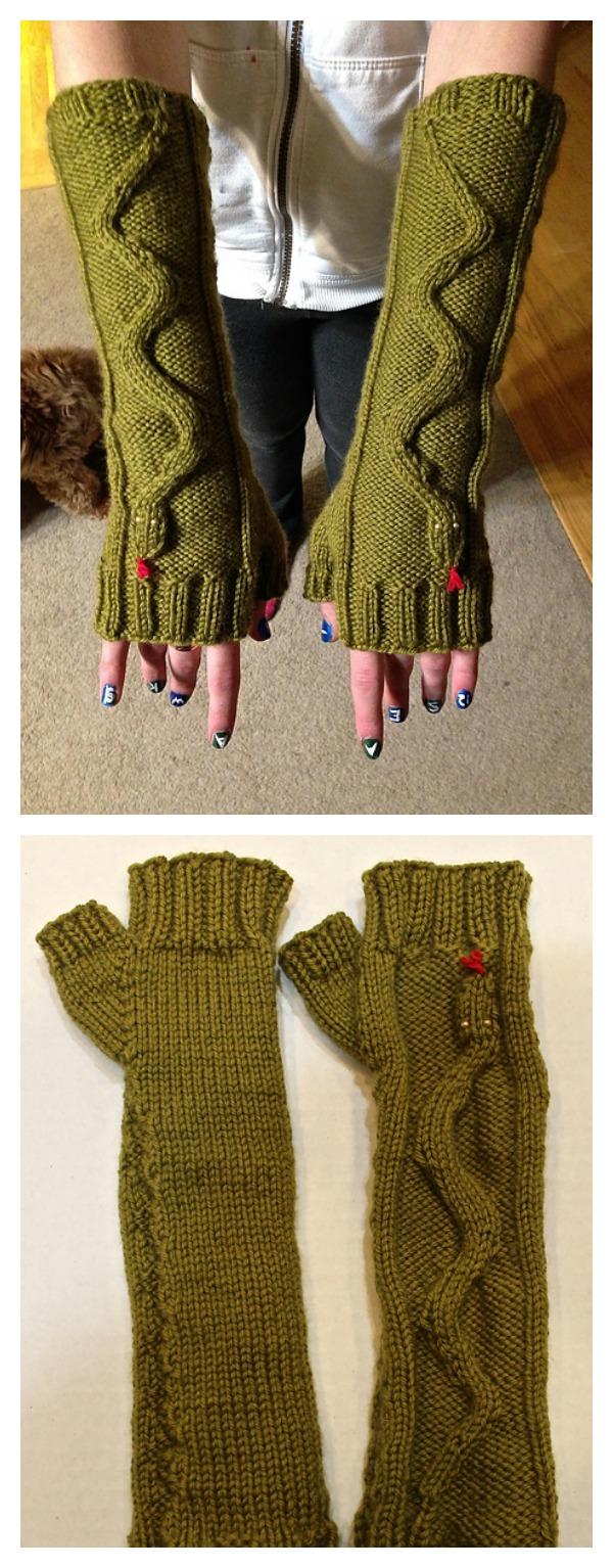 Fingerless Gloves Knitting Pattern Beginner : Knitting Fingerless Snake Mitts Patterns