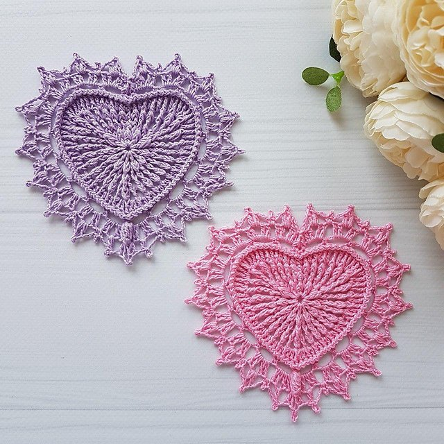 Lovely Heart Doily Free Crochet Pattern
