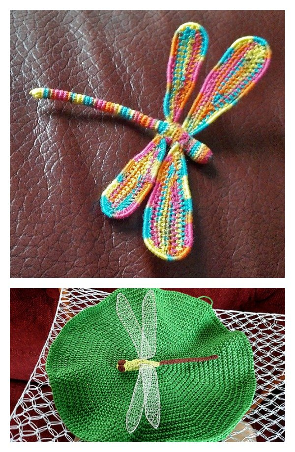 3 D Crochet Dragonfly With Wire Free Pattern Cool Creativities