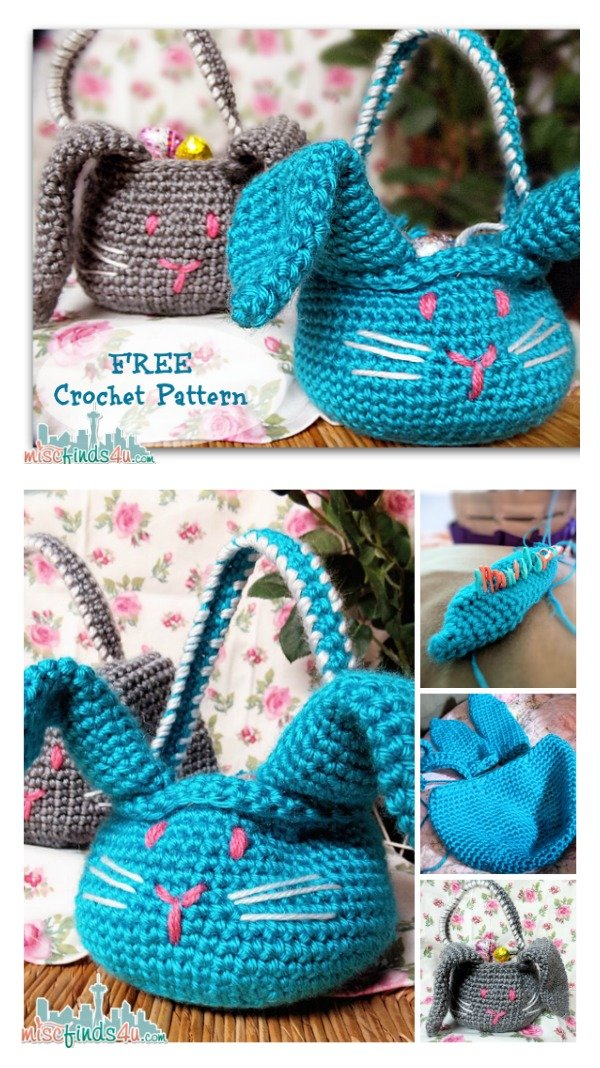 Free Printable Crochet Basket Patterns : Crochet Easter Basket Free Patterns