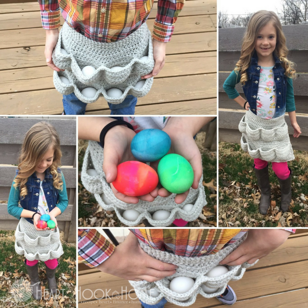 Crochet Child Size Egg Gathering Apron Free Pattern