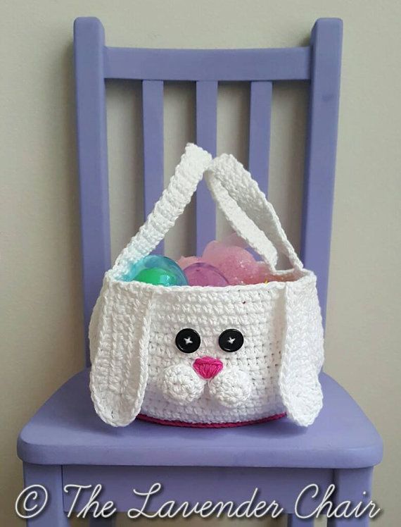 Crochet Chubby Bunny Easter Basket Free Pattern