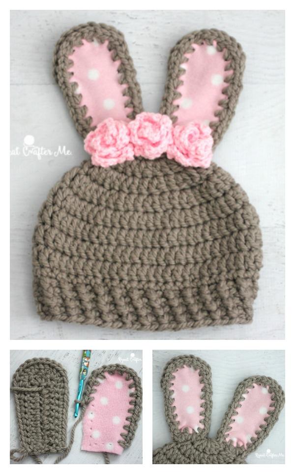 Crochet Chunky Bunny Hat Free Pattern