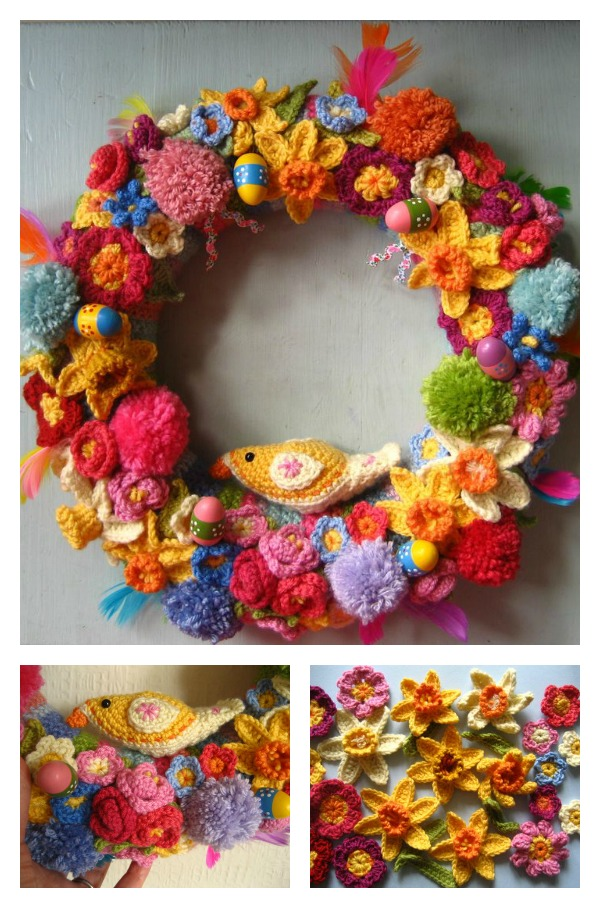Crochet Easter Wreath Free Pattern
