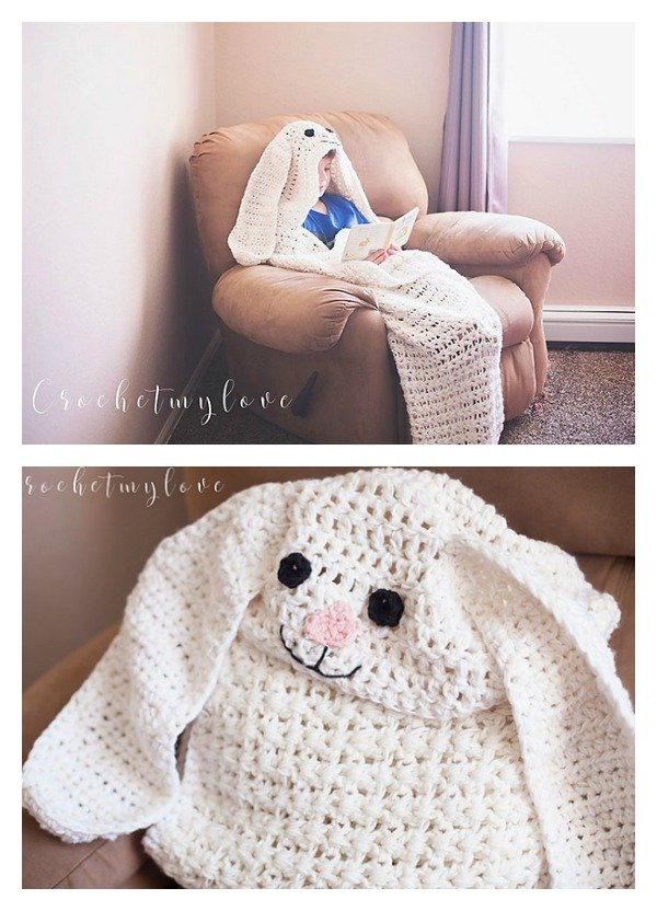 Crochet Giant Hooded Easter Bunny Blanket Free Pattern