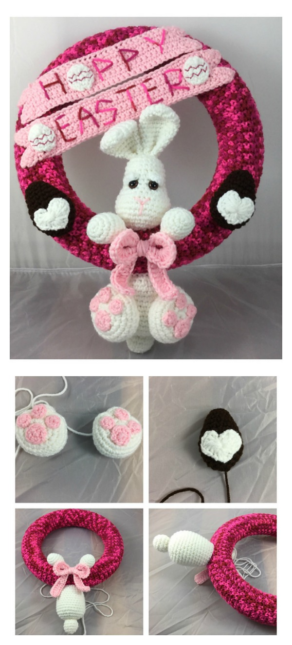 Crochet Hoppy Easter Wreath pattern
