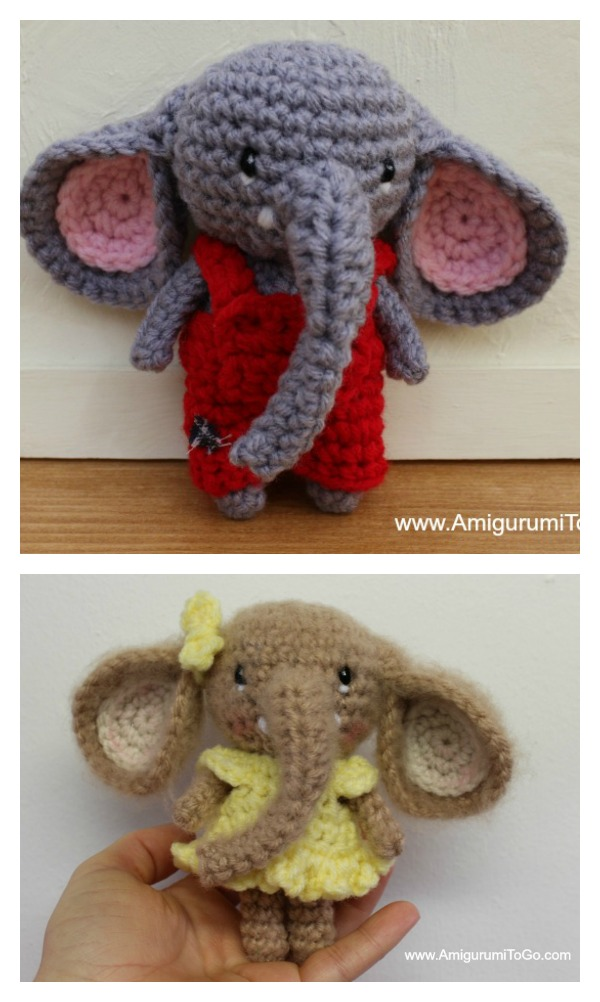 Crochet Little Bitty Elephants Amigurumi Free Pattern