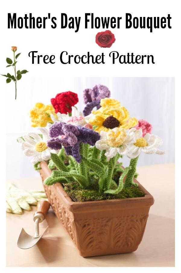 Crochet Mother's Day Flower Bouquet Free Pattern