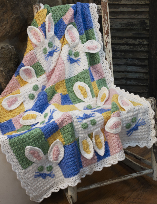 Cute Crochet Easter Bunny Blanket Free Pattern