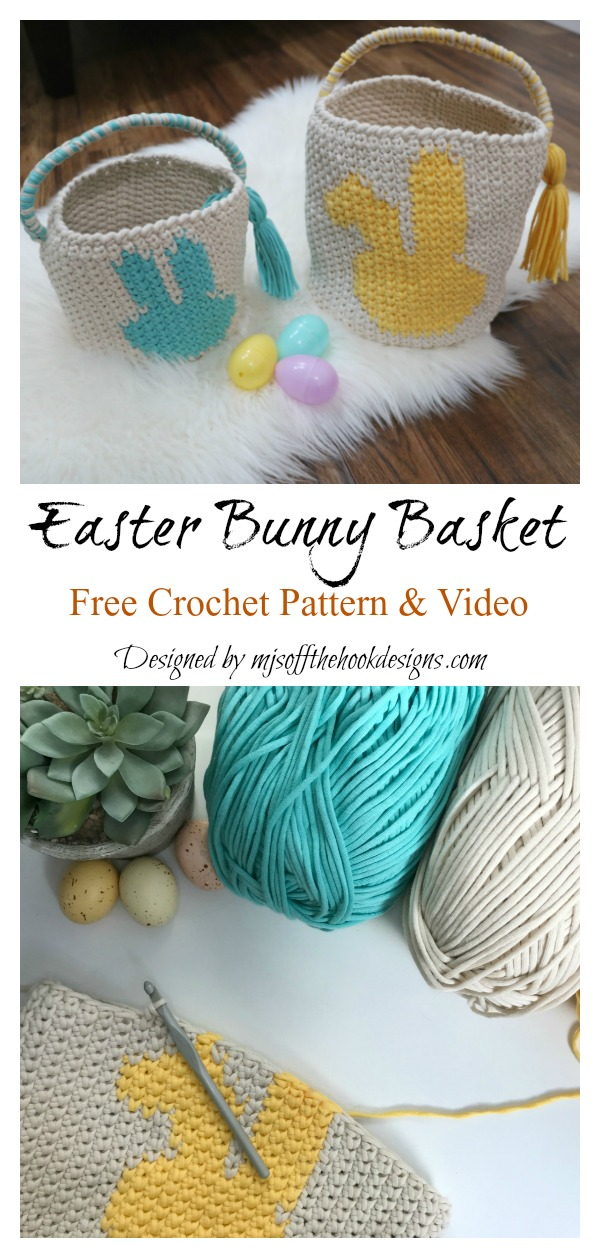 Easter Bunny Basket Free Crochet Pattern and Video Tutorial