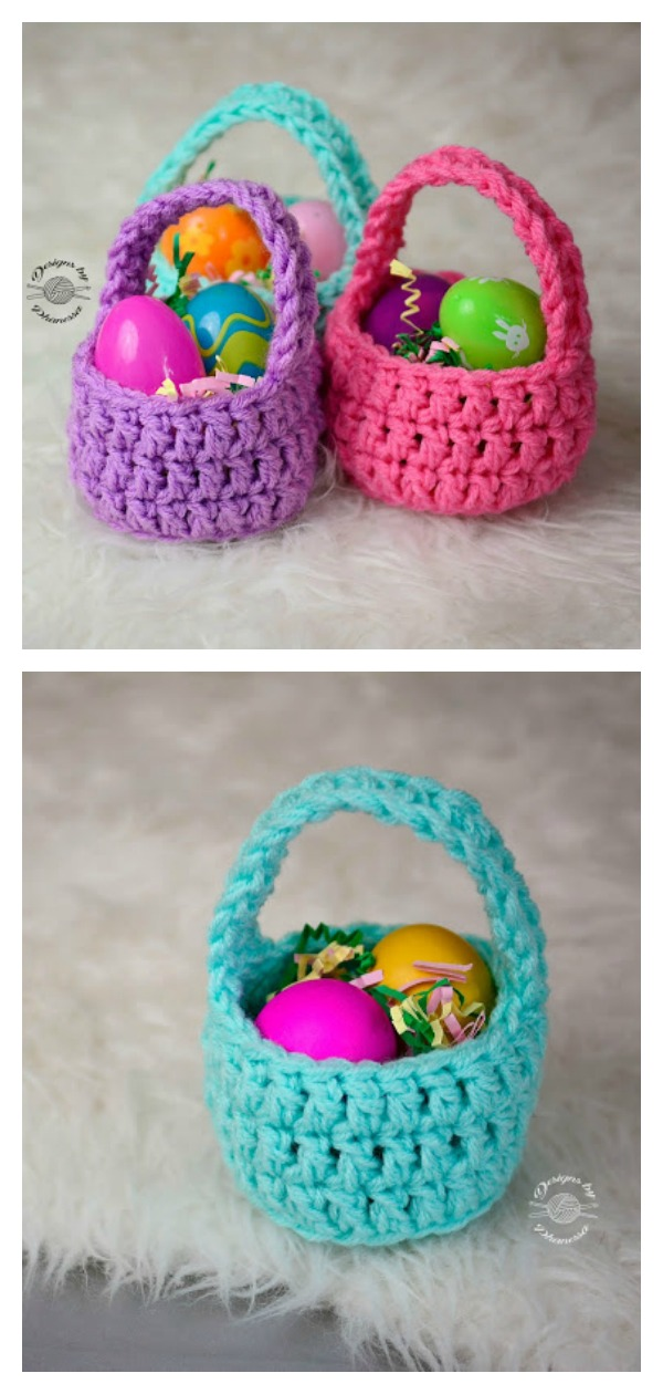 Mini Easter Basket Free Crochet Pattern and Video Tutorial