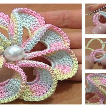 3D Spiral 8-Petal Crochet Flower Trim Around Video Tutorial