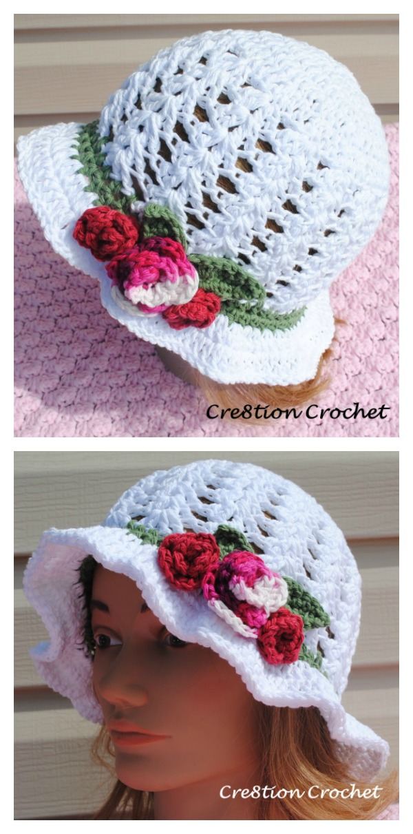 Crochet Adult Spring Or Easter Shell Stitch Sun Hat With Flowers