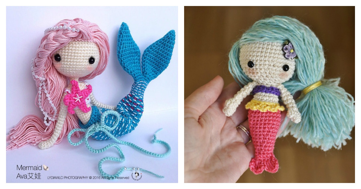 6 Crochet Amigurumi Mermaid Doll Patterns