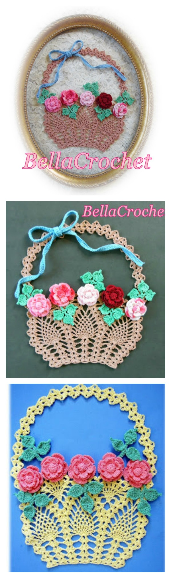 Crochet Flower Basket Of Roses Wall Art Free Pattern Cool Creativities