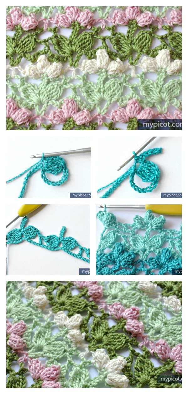 Crochet Flower Popcorn Stitch Free Pattern